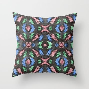 Colorful Confetti Pattern on Black Throw Pillow by Bright Vibes Design