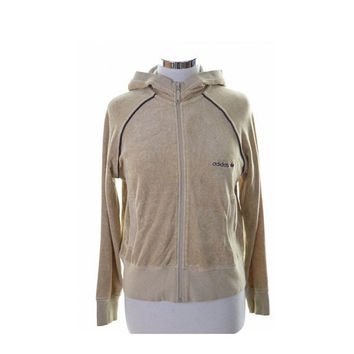 Adidas Womens Tracksuit Top Jacket Size 40 14 Medium Beige Cotton Polyester