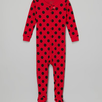 Red & Black Polka Dot Footie - Infant & Kids
