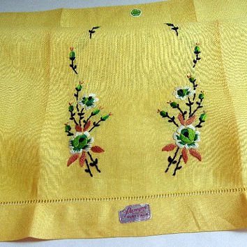 Embroidered Floral Design Yellow Irish Linen Tea Towel or Guest Towel