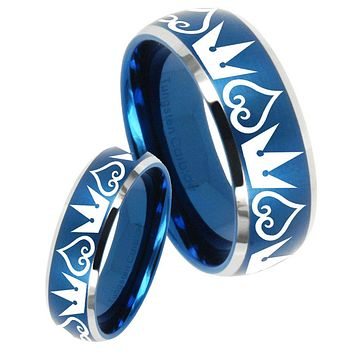 His Her Satin Blue Dome Hearts and Crowns Two Tone Tungsten Wedding Rings Set