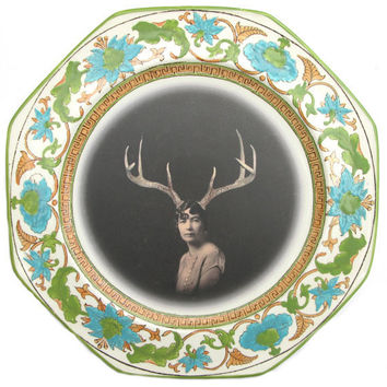 Deer Liza Portrait Plate Altered Antique Plate by BeatUpCreations