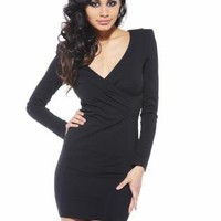 Black Long Sleeve Dress with V-Neck Front