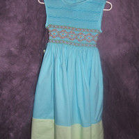 Teal Garden Tea Party Dress  Sizes 4 to 6 years old (Fabric choices available)