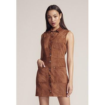 BB Dakota - Suede In Heaven Saddle Brown Mini Dress