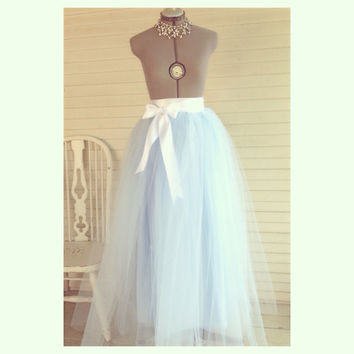 Floor Length Adult Tulle Tutu Skirt with Satin Ribbon Sash Customize Your Colors Ballet Prom Retro
