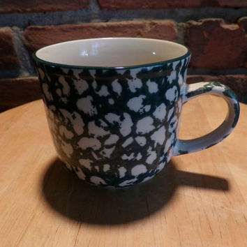 Tienshan Folk Craft APPLE Green Sponge, Tienshan Stoneware coffee cup, Discontinued stoneware, Folk art mugs
