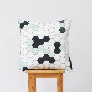 Mint Honeycomb Geometric Pillow