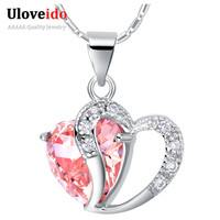 Heart Necklace Women 925 Sterling Silver Fashion Necklaces for Women 2015 Crystal Pendant Purple Pink Blue Jewelry Ulove N673