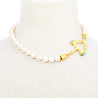 Stirrup on Mother-of-Pearl Necklace, Collar Necklaces