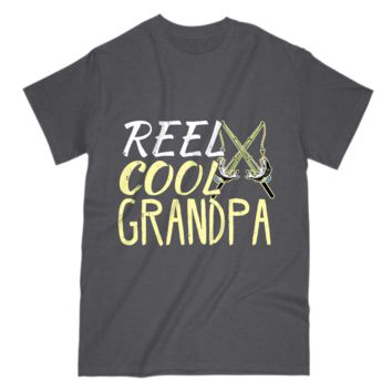 Gift For Fishing Grandpa Mens T Shirt Reel Cool Grandpa Papa Tee