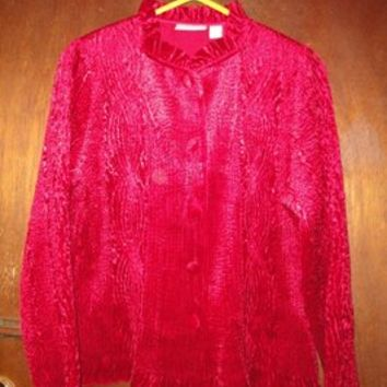 Womens Chicos Chico's Evening Occasion Dressy Jacket 1 S Small Top Red