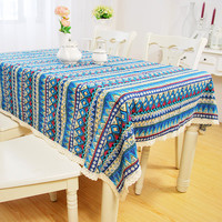 Blue Bohemian Style Lace Tablecloth Wedding Banquet Party Table Cover  Home Decor 5 Sizes