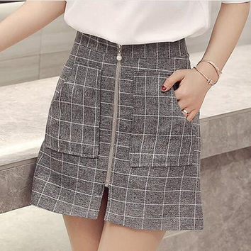 Checked A Line Skirt