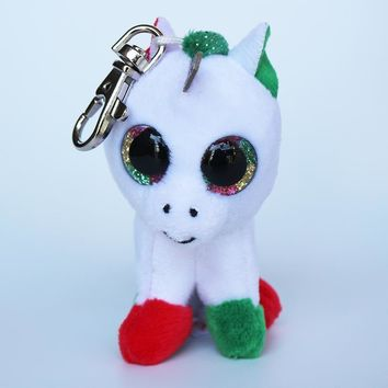 "Ty Beanie Boos 3"" Candy Cane the Unicorn Keychan Keyclips Clip Big Glitter Eyes 7cm Keyring Plush Toys Collection Christmas Gift"