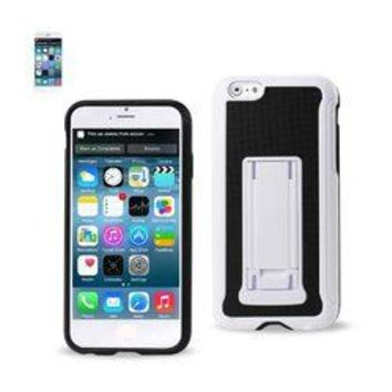 REIKO IPHONE 6 PLUS HYBRID HEAVY DUTY CASE WITH VERTICAL KICKSTAND IN BLACK WHITE