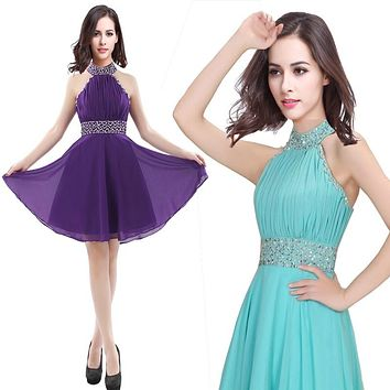 2017 new fashion women chiffon diamond princess dress short halter dress halter top Cocktail dress birthday graduation dress