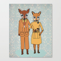 Fantastic Fox Couple Stretched Canvas by Andrea Lauren