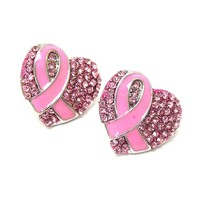 Crystal And Epoxy Deco Pink Ribbon & Heart Earring - Breast Cancer Awareness / AZERBCA002-SPK