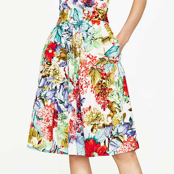 Vintage Sweet Colorful Tropical Flower Floral Pattern High Waist A-Line Skirt Stylish Women Knee-Length Swing Skirt Q17-03-34