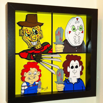 Horror Movie Art Freddy Krueger Jason Voorhees Mask by PopsicArt