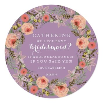 Pastel Wreath Will You Be My Bridesmaid | Lilac Card