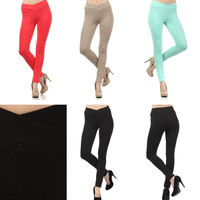 Sexy Stretch Banded Cross Over High V-Waist Color Skinny Pant Leggings Jeggings