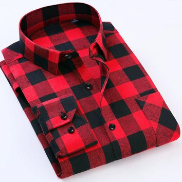 Men's Plaid Cotton Long Sleeve Flannel Shirt
