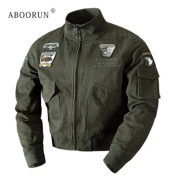 Trendy ABOORUN Winter Mens Military Jacket Bomber Jackets US Flag Embroidery Men's Thick Warm Slim fit Coat P6044 AT_94_13