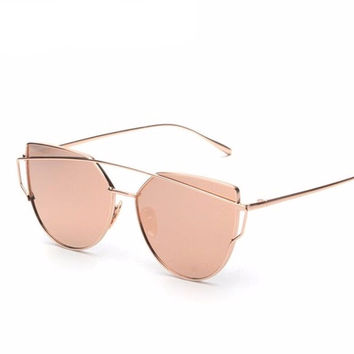 Reflective Cat Eye Frame Sunglasses