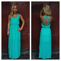 Teal Double Slit Maxi Dress with Open Strappy Back