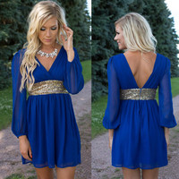 V-neck Sequin Long Sleeves Short Chiffon Dress