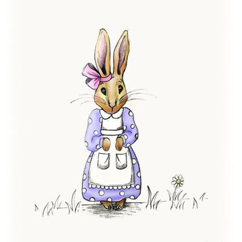 Kids Wall Art Purple Storybook Bunny Print by wonderlaneart