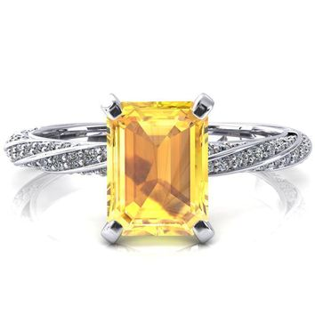Elysia Emerald Yellow Sapphire 4 Prong 3/4 Eternity Diamond Accent Ring