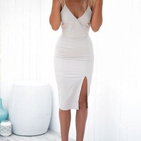 White V-Neck Simple Close-Fitting Homecoming Dress