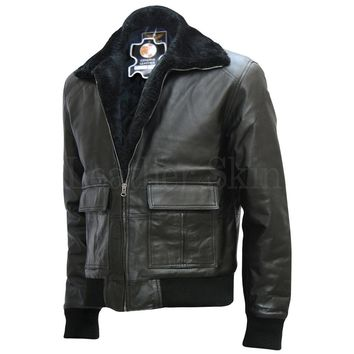 Men Black Bomber Leather Jacket