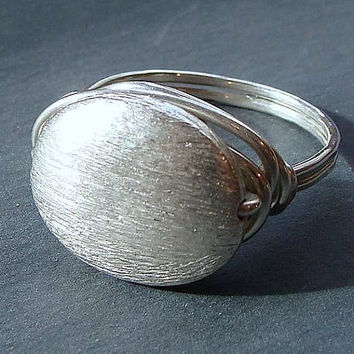 Oval Brushed Satin Finish Ring ire Wrapped in Sterling Silver Ring