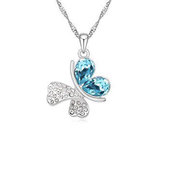Imitation Silver Plated Statement Butterfly crystal Necklace pendant For Women