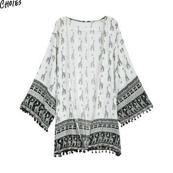 White Giraffe Printed Pom Pom Tassels Hem Chiffon Kimono Women Casual Loose Summer Loose Beach Cover Up Cardigan