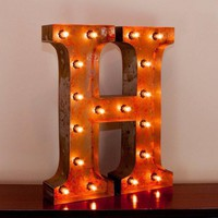 "24"" Letter H Lighted Vintage Marquee Letters with Screw-on Sockets"