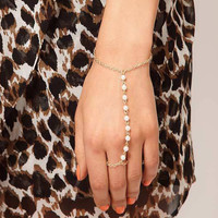 Gold Faux Pearl Linked Finger Ring Bracelet