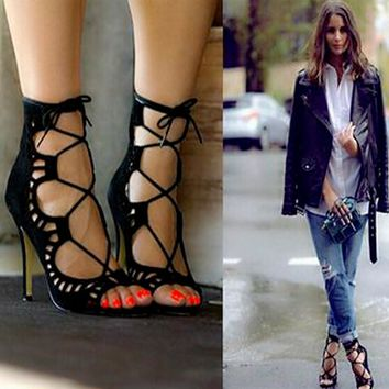 Fashion Women Pumps Women Shoes Sandals Lace up High Heels Cut Outs Shoes Summer Open Toe