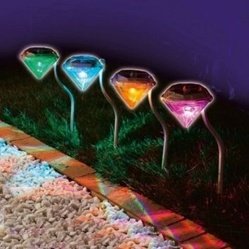Outdoor LED Path Lamp Solar Power Night Lights Flower Lamp Home Garden Fence Light Yard Lawn Decoration Diamond Gift