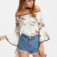 Fashion Flower Print Off Shoulder Long Sleeve Pagoda Sleeve Women Chiffon Tops