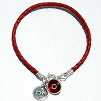 Kabbalah Red Luck Leather Bracelet Handmade Evil Eye Jewelry