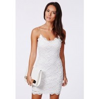 Missguided - Ciara Lace Strappy Mini Dress White