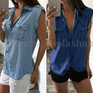 S-4XL ZANZEA Womens Sleeveless Denim Jeans Casual Tank Tops Blouse Vest T-Shirt