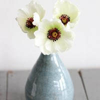 """Mini Real Touch Poppy in White Green - 9.5"""" Tall"""