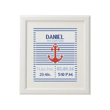 Cross Stitch pattern baby announcement Anchor counted DIY Birth Cross Stitch Birth Record chevron Nautical embroidery new Baby Boy
