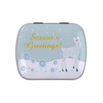 Snowy Deer Jelly Belly Candy Tin